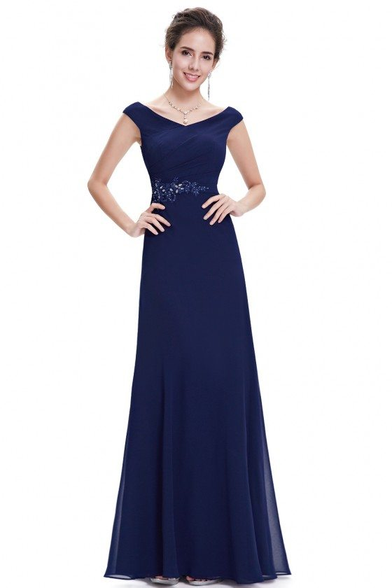 Women's Elegant Chiffon Navy Blue V-neck Evening Dress