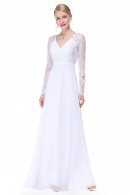 White V-neck Lace Long...