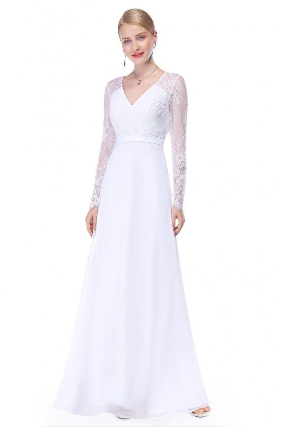 White V-neck Lace Long Sleeve Evening Prom Dress