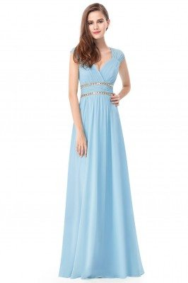 Blue V-Neck Beaded Waist...