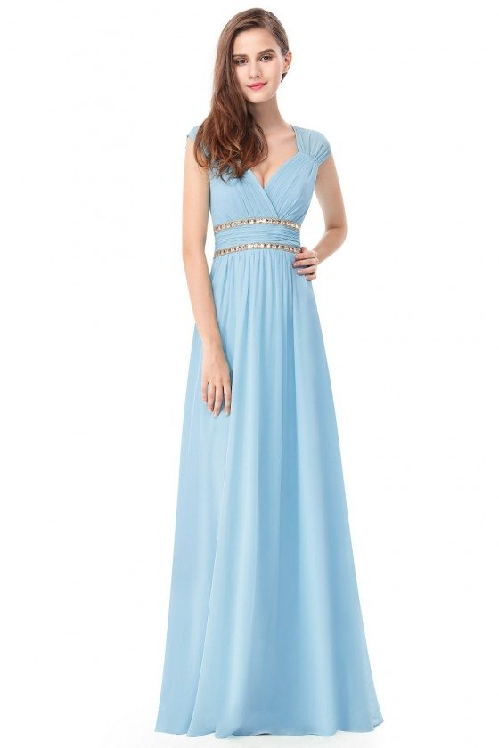 Blue V-Neck Beaded Waist Chiffon Long Prom Dress