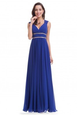 Royal Blue V-Neck Beaded...