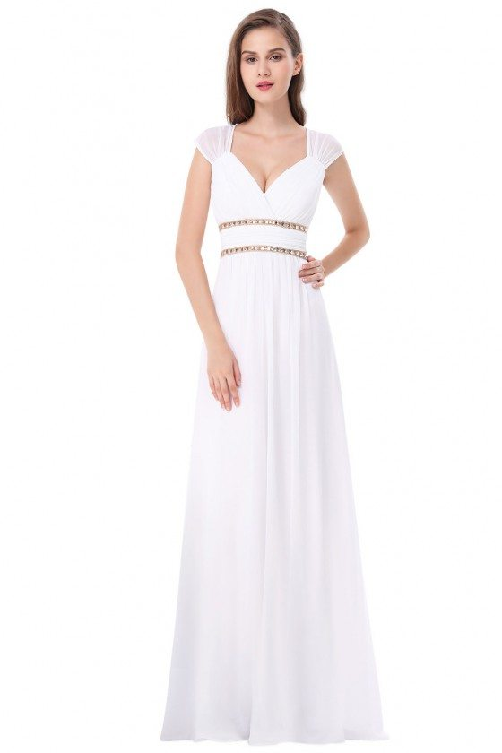 White V-Neck Beaded Waist Chiffon Long Prom Dress