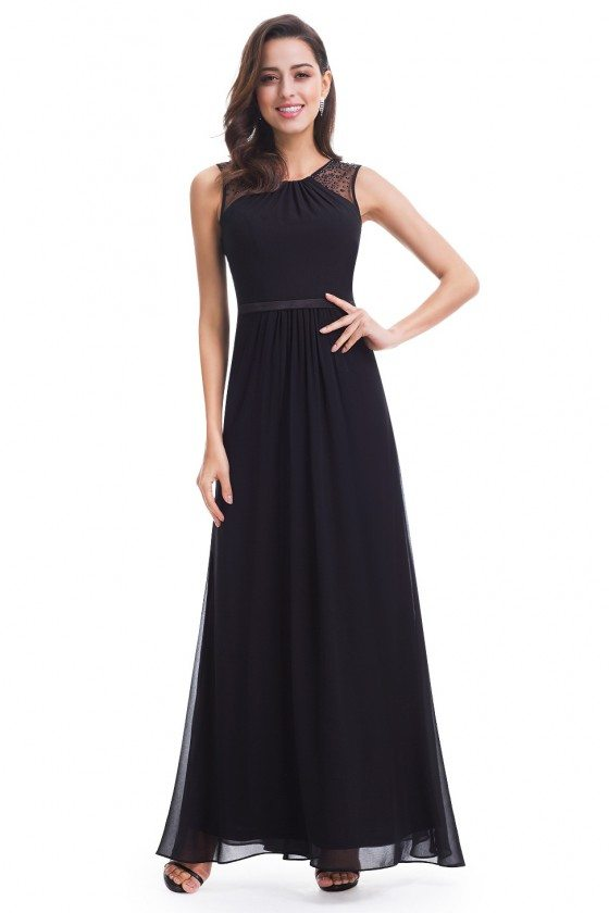 Black Chiffon Round Neck Long Evening Party Dress