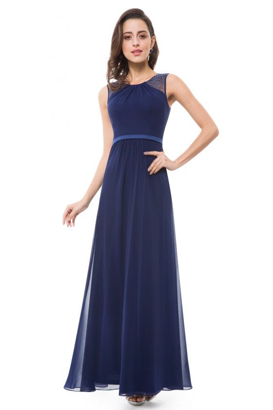 Navy Blue Chiffon Round Neck Long Evening Party Dress