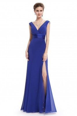 Royal Blue Sexy Slit V-neck...
