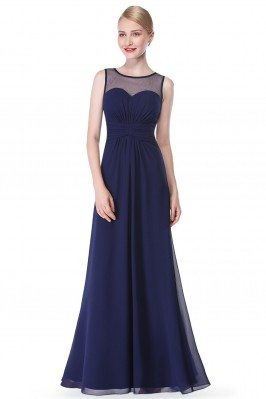 Navy Blue Illusion Neckline...