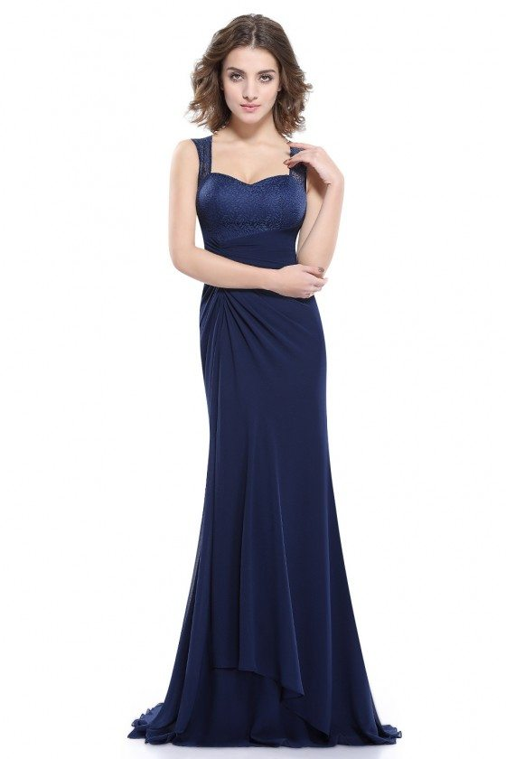 Navy Blue Simple Sheer Lace Long Evening Party Dress