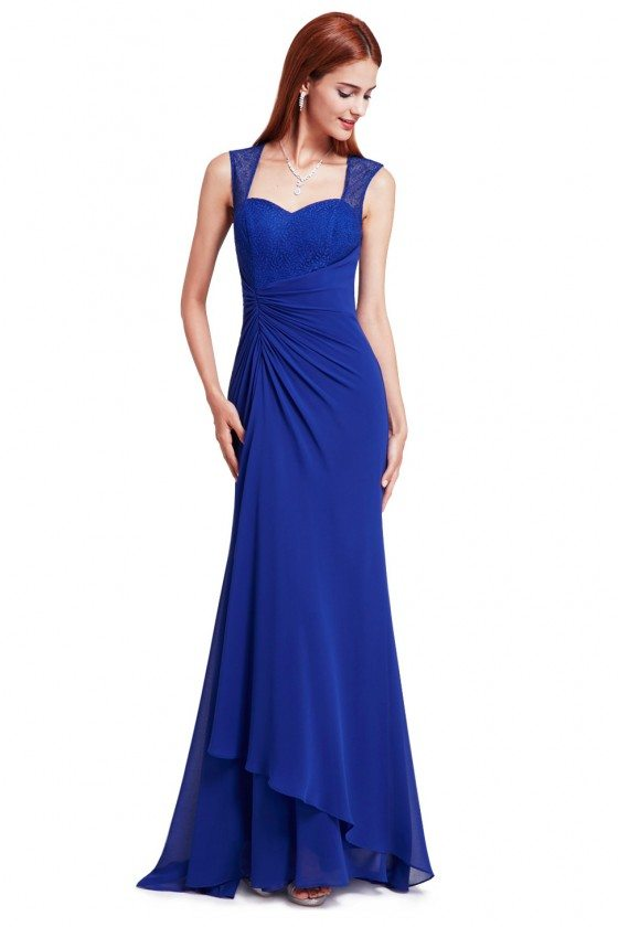Royal Blue Simple Sheer Lace Long Evening Party Dress