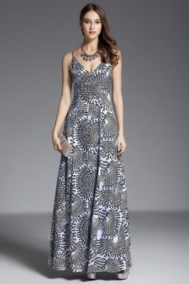 Printed Long Dress With Spaghetti Straps