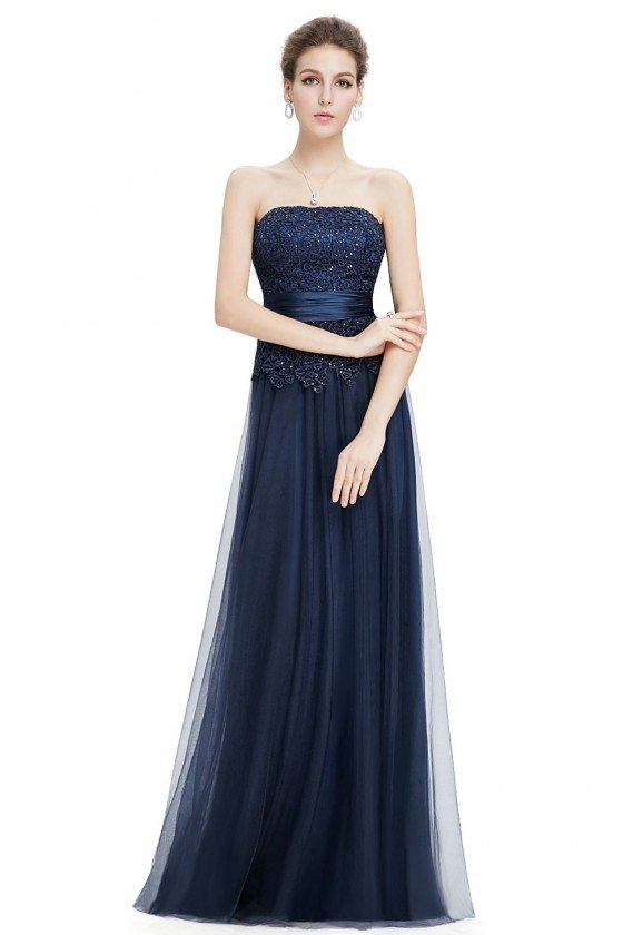 Navy Blue Lace Tulle Long Prom Party Dress