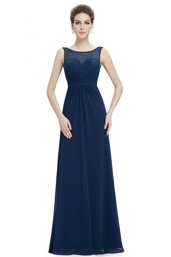 Navy Blue Round Neck Long Evening Party Dress