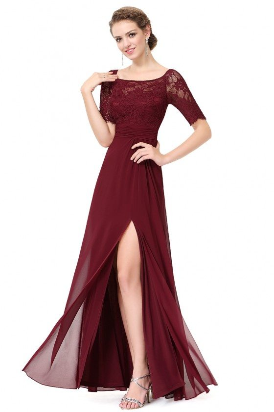 Burgundy Slit Short Sleeve Prom Party Dress
