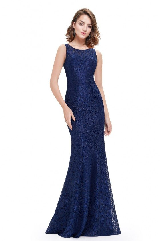 Navy Blue Fitted Mermaid Long Prom Dress