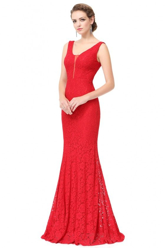 Red Sexy V-neck Long Fishtail Evening Prom Dress