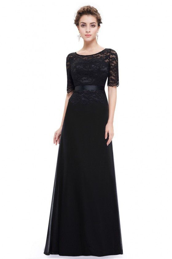 Black Lace Round Neck Long Evening Dress with Sleeves