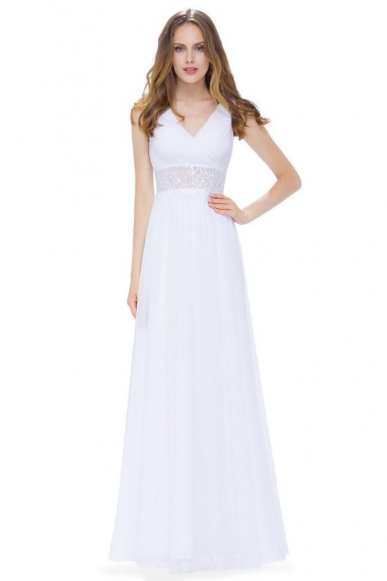 White V-neck Sleeveless Long Evening Dress