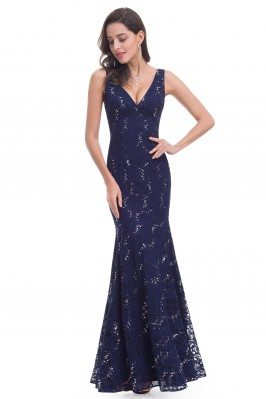 Navy Blue Lace V-neck Long...