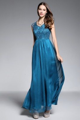Lace Top Long Chiffon Evening Dress