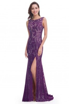 Dark Purple Full Lace Slit...