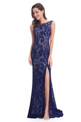Navy Blue Full Lace Slit...