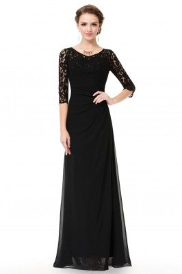Black Lace 3/4 Sleeve Long...