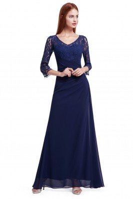 Navy Blue Lace 3/4 Sleeve...