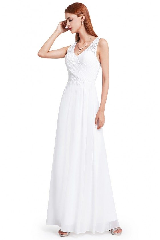 Women's White V-Neck Long Chiffon Evening Party Dress