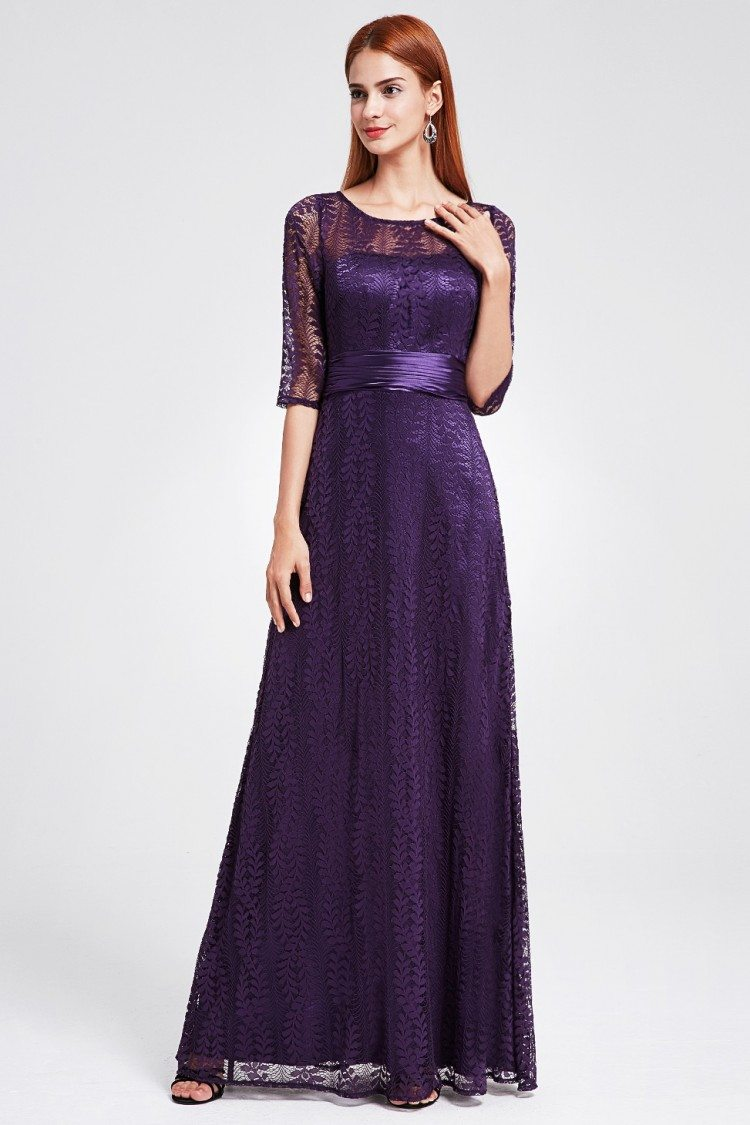 Dark Purple Lace Half Sleeve Long Prom Party Dress 55