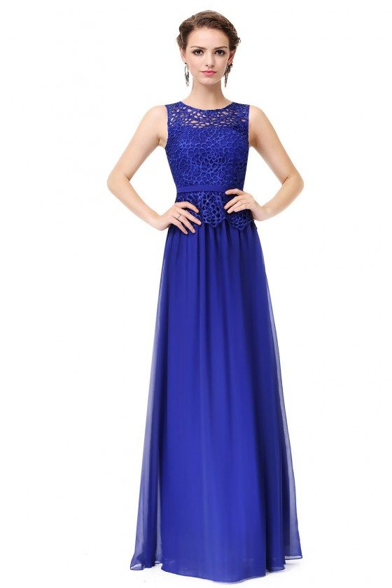 Royal Blue Sleeveless Lace Long Party Dress