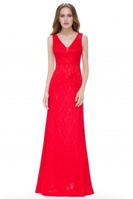 Women'S Red Lace V-Neck...
