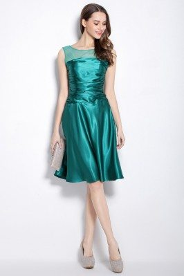 Sleeveless Ruched Satin Short Party Dress