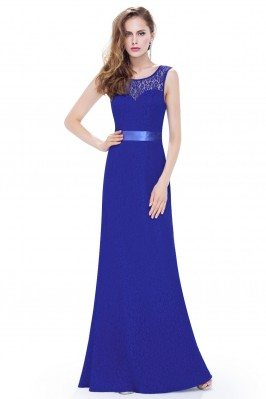 Royal Blue Sleeveless Lace...
