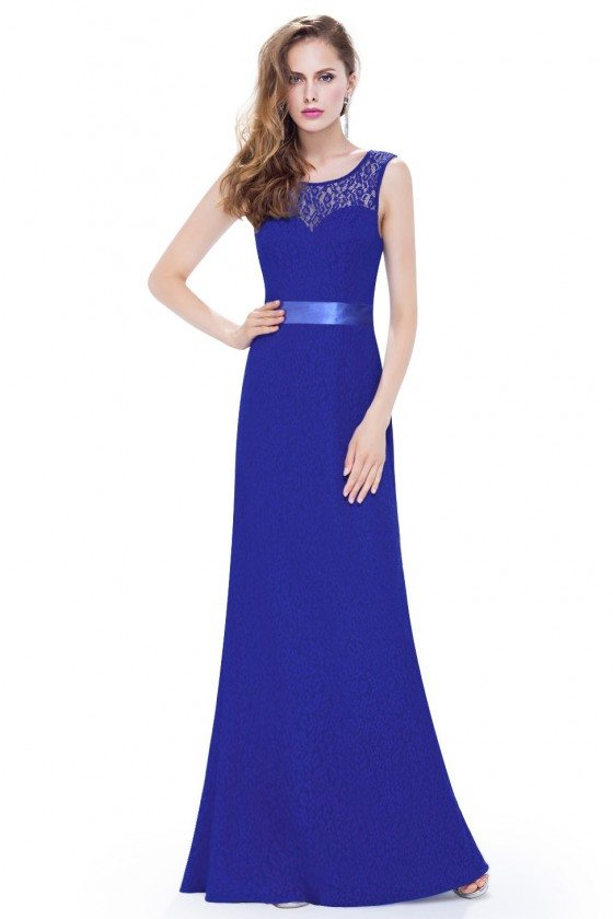 Royal Blue Sleeveless Lace Long Evening Party Dress