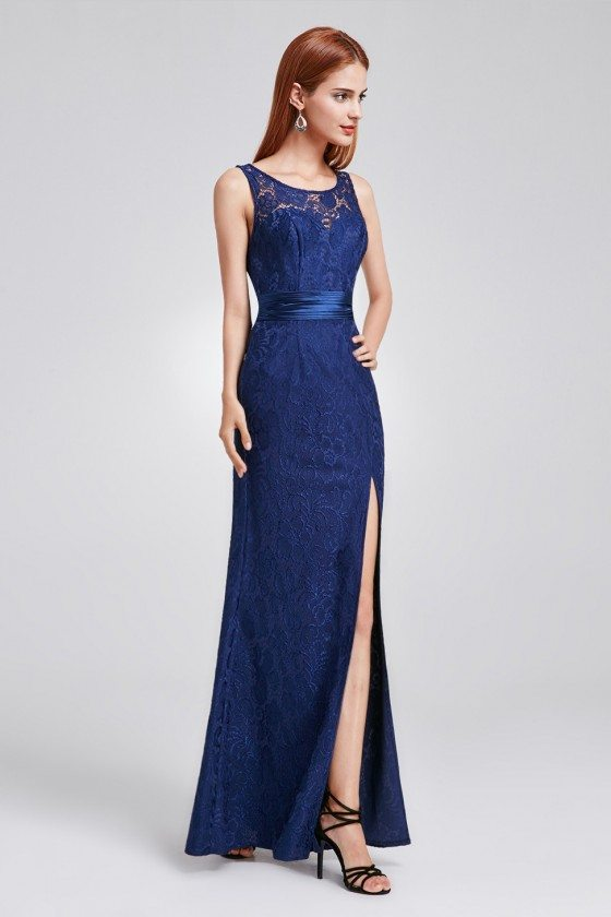 Navy Blue Full Lace Slit Formal Evening Dress with Sash