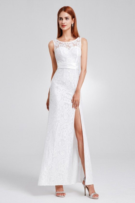 White Full Lace Slit Formal Evening Dress with Sash