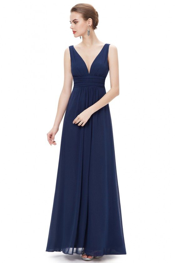 Simple Navy Blue Double V-Neck Chiffon Evening Dress