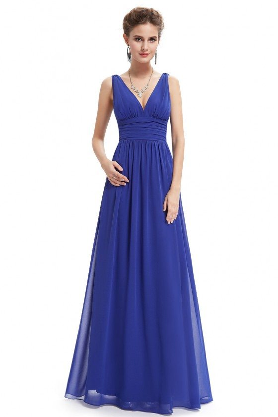 Simple Royal Blue Double V-Neck Chiffon Evening Dress