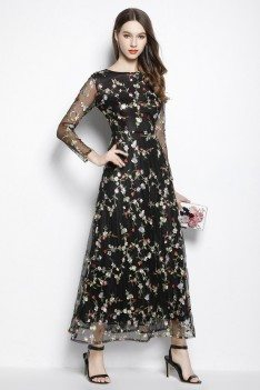 Black Round Neck Sheer Sleeve Embroidery Party Dress 89
