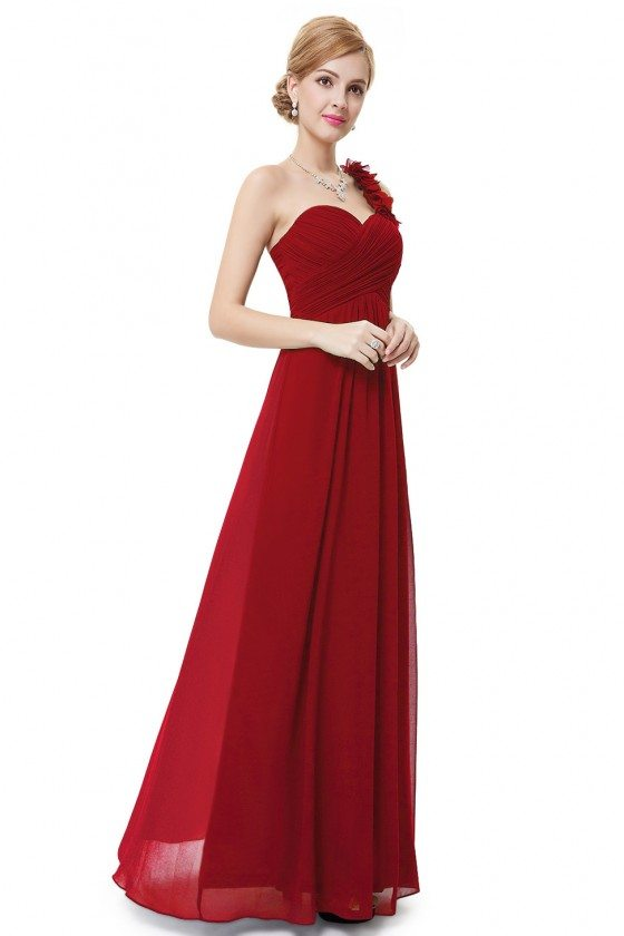 Red Flowers One Shoulder Chiffon Padded Bridesmaid Dress