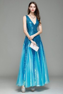 Blue Sequin Deep V-neck Long Prom Dress