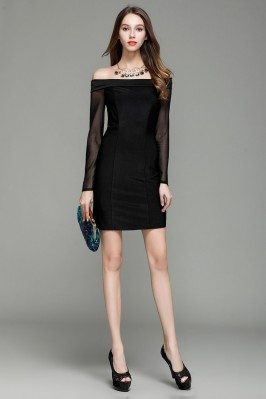 Little Black Off Shoulder Long Sheer Sleeve Party Dress