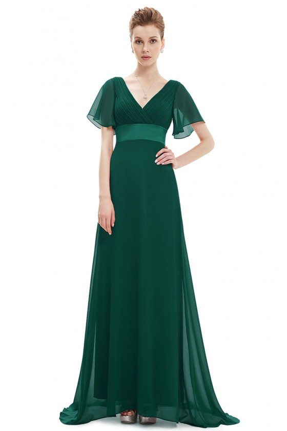Dark Green Chiffon Double V-Neck Ruffles Padded Evening Dress