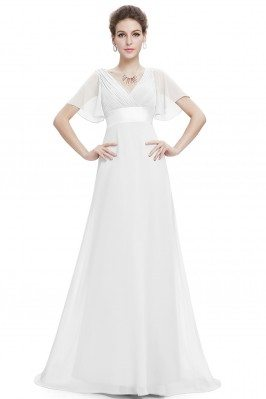 White Chiffon Double V-Neck...