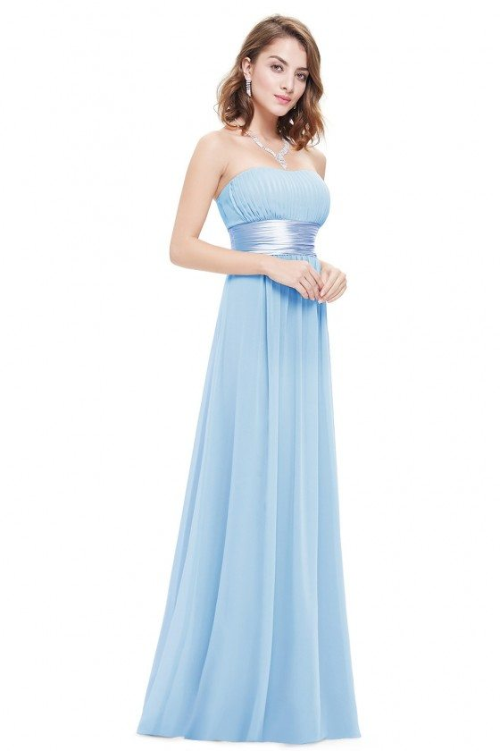 Strapless Ruched Bust Blue Chiffon Long Bridesmaid Dress