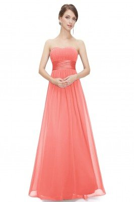 Strapless Ruched Bust Coral...
