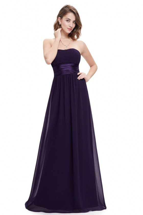 Strapless Ruched Bust Dark Purple Chiffon Long Bridesmaid Dress