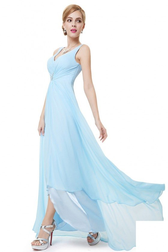 Blue Double V Neck Rhinestones Ruched Bust High Low Evening Dress