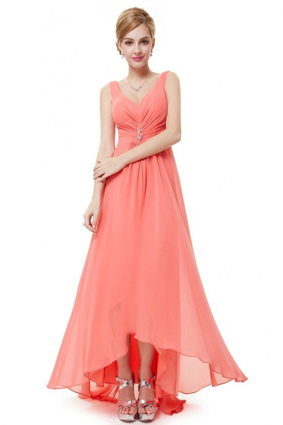Coral Double V Neck Rhinestones Ruched Bust High Low Evening Dress