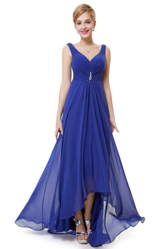 Royal Blue Double V Neck Rhinestones Ruched Bust High Low Evening Dress